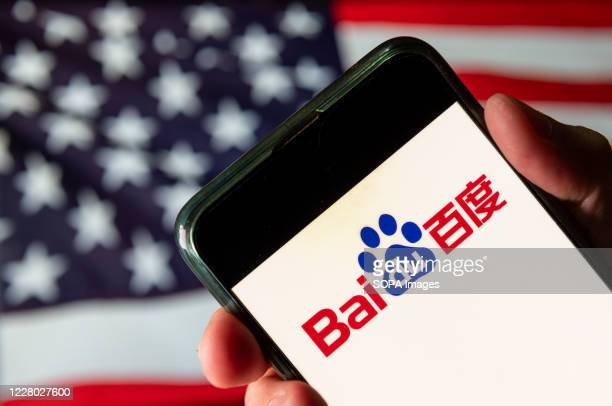In this photo illustration the Chinese multinational technology company Baidu logo is seen on an Android mobile device with United States of America...