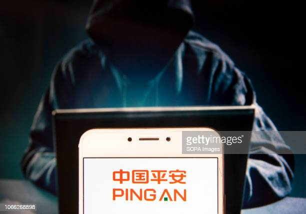 In this photo illustration the Chinese Ping An Insurance holding conglomerate company logo is seen displayed on an Android mobile device with a...