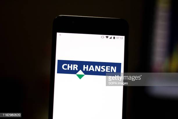 In this photo illustration the Chr. Hansen logo is displayed on a smartphone.