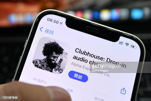 In this photo illustration the Clubhouse app logo is seen displayed on a smartphone screen.