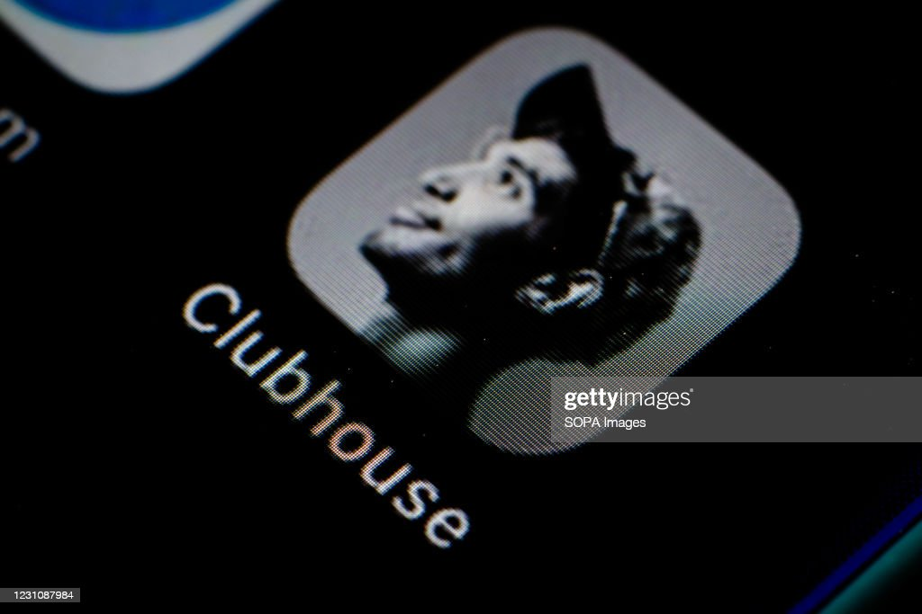 In this photo illustration, the Clubhouse app seen displayed... : ニュース写真