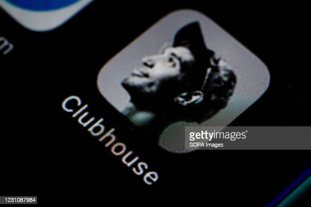 In this photo illustration, the Clubhouse app seen displayed on a smartphone screen.