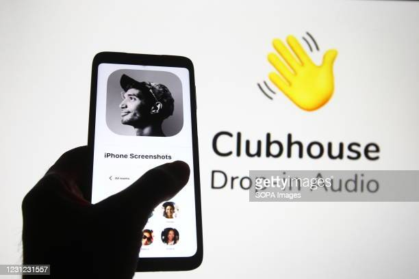 In this photo illustration the Clubhouse logo of an audio-chat social networking app is seen on a smartphone screen.