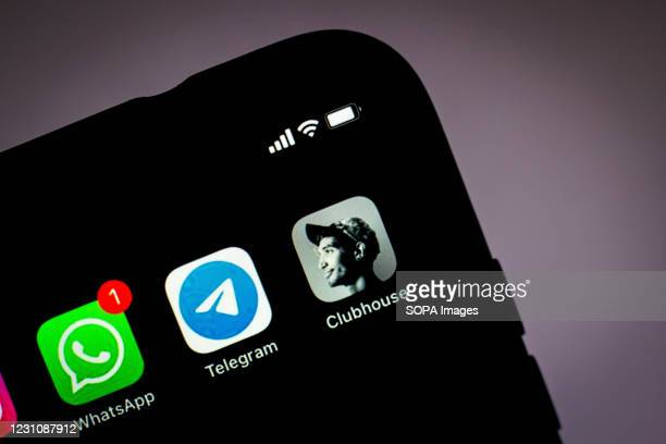 In this photo illustration, the Clubhouse, Telegram and WhatsApp apps seen displayed on a smartphone screen.
