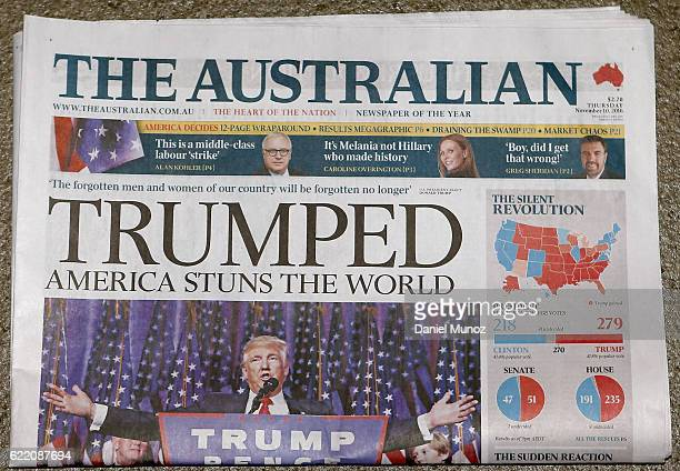 In this photo illustration the cover of The Australian is shown on November 10 2016 in Sydney Australia Americans voted yesterday to elect Donald...