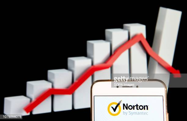 In this photo illustration the Cubersecurity and antivirus malware software developed by Symantec Corporation Norton AntiVirus logo is seen displayed...