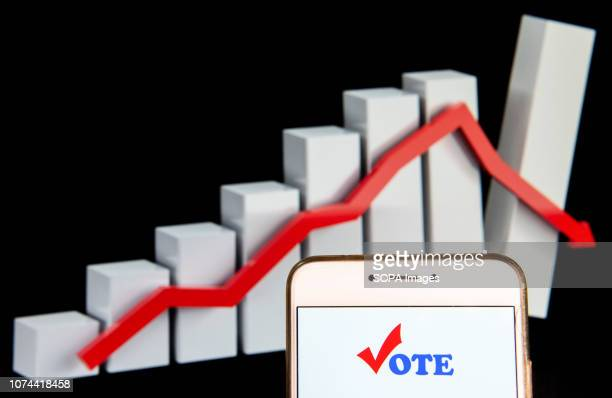 In this photo illustration the Democratic voting election logo is seen displayed on an Android mobile device with a decline loses graph in the...