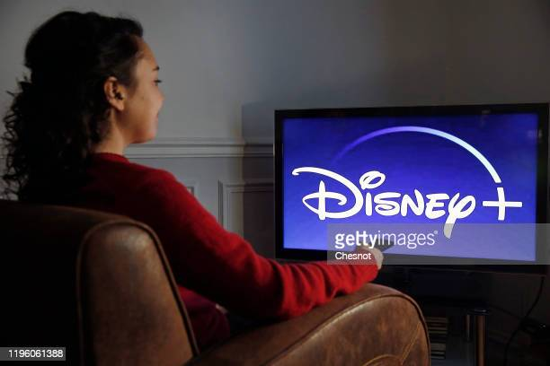 In this photo illustration, the Disney + logo is displayed on the screen of a TV on December 26, 2019 in Paris, France. The Walt Disney Company...