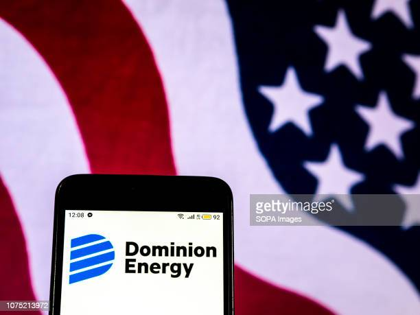 In this photo illustration the Dominion Energy Company logo seen displayed on a smartphone