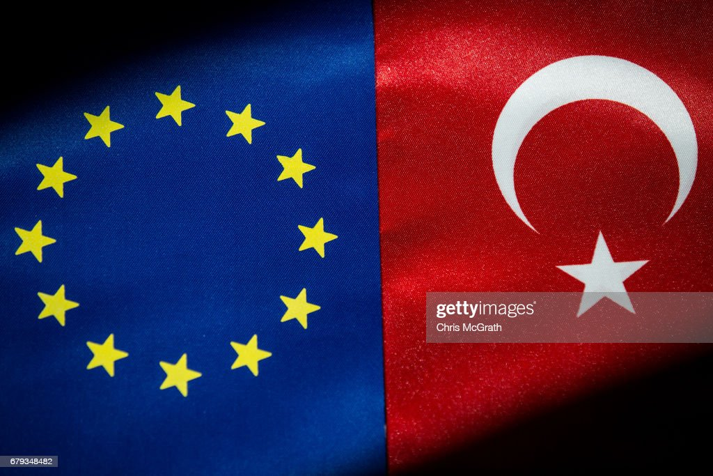 European Union And The Turkish National flag : News Photo