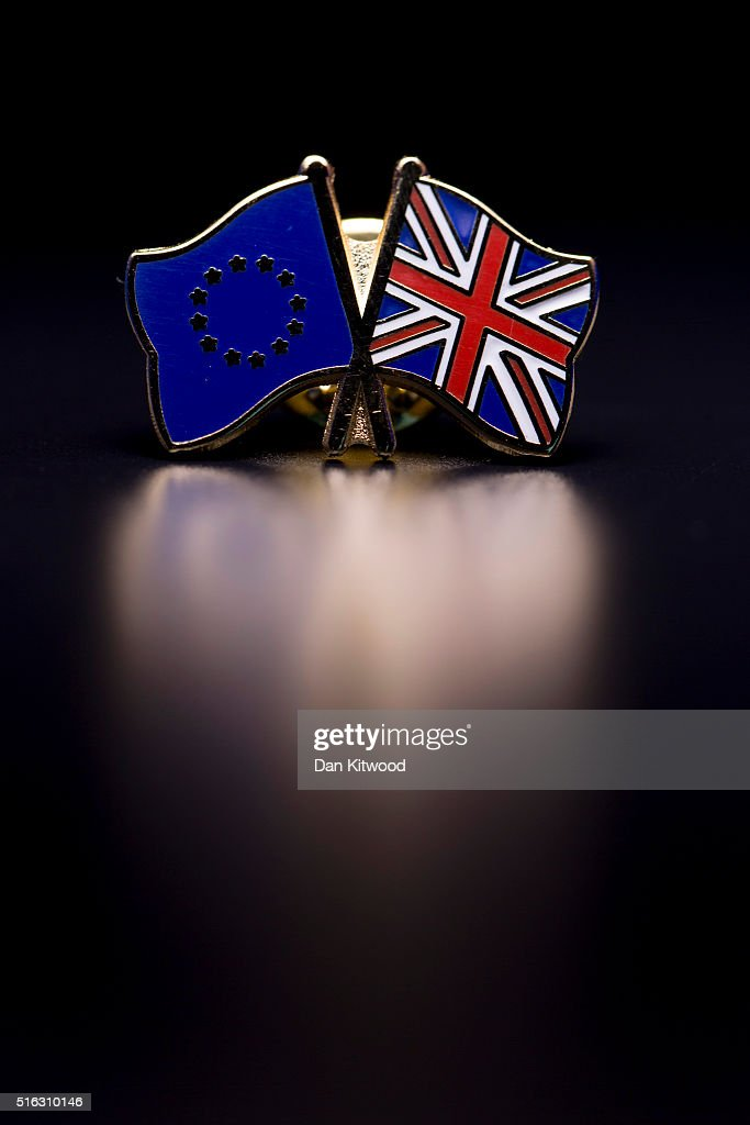 In this photo illustration, the European Union and the Union flag are pictured on a pin badge on March 17, 2016 in London, United Kingdom. The United Kingdom will hold a referendum on June 23, 2016 to decide whether or not to remain a member of the European Union (EU), an economic and political partnership involving 28 European countries which allows members to trade together in a single market and free movement across its borders for citizens.