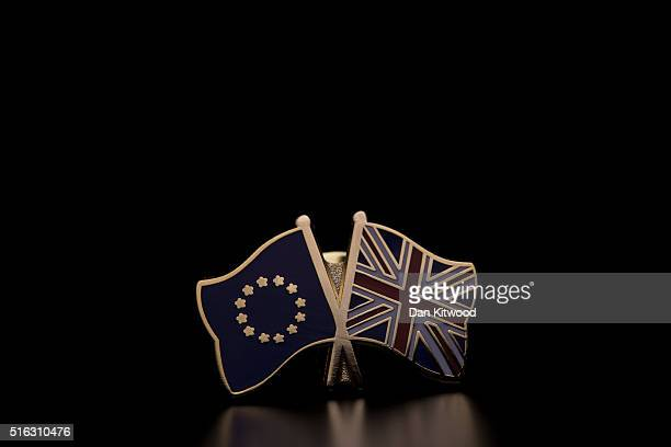 In this photo illustration the European Union and the Union flag are pictured on a pin badge on March 17 2016 in London United Kingdom The United...
