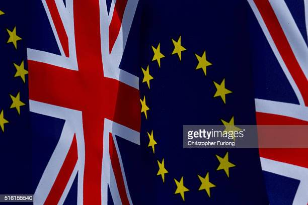 In this photo illustration the European Union and the Union flag sit together on bunting on March 17 2016 in Knutsford United Kingdom The United...