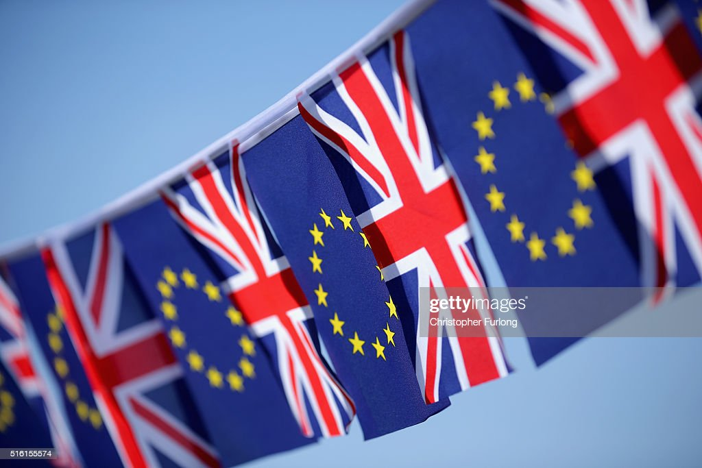 In this photo illustration, the European Union and the Union flag sit together on bunting on March 17, 2016 in Knutsford, United Kingdom. The United Kingdom will hold a referendum on June 23, 2016 to decide whether or not to remain a member of the European Union (EU), an economic and political partnership involving 28 European countries which allows members to trade together in a single market and free movement across its borders for citizens.