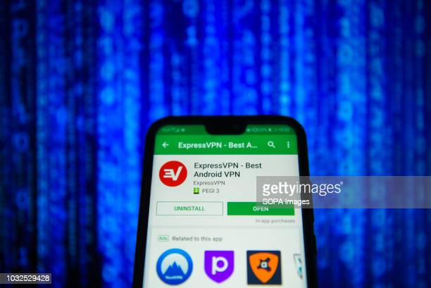 In this photo illustration, the Express VPN app is seen displayed on an Android mobile phone.