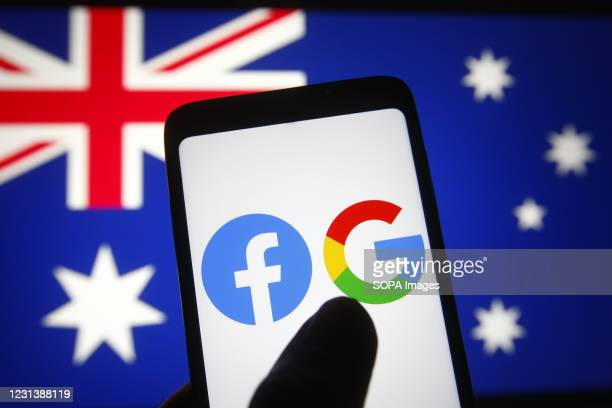 In this photo illustration the Facebook and Google logos are seen on a smartphone in front of the flag of Australia.