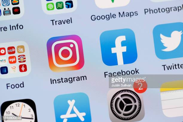In this photo illustration, the Facebook and Instagram apps are seen on the screen of an iPhone on October 04, 2021 in San Anselmo, California....
