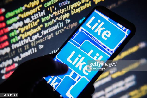 In this photo illustration the Facebook likes signs are seen displayed on an Android mobile phone