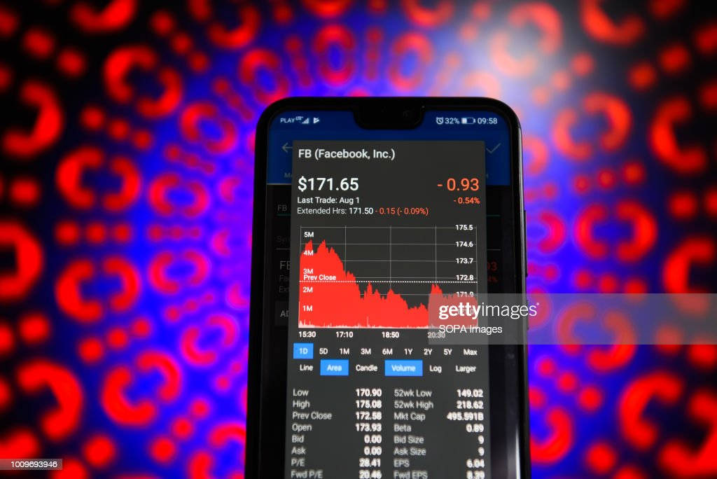 Facebook stock market value is seen on a mobile phone  News
