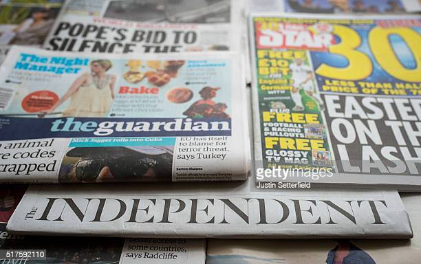 In this photo illustration the final edition of the The Independent newspaper is seen on March 26 2016 in London England The final edition of the...