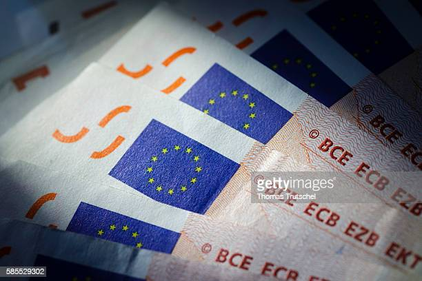 In this Photo Illustration the flag of the European Union can be seen on euro banknotes on August 03 2016 in Berlin Germany