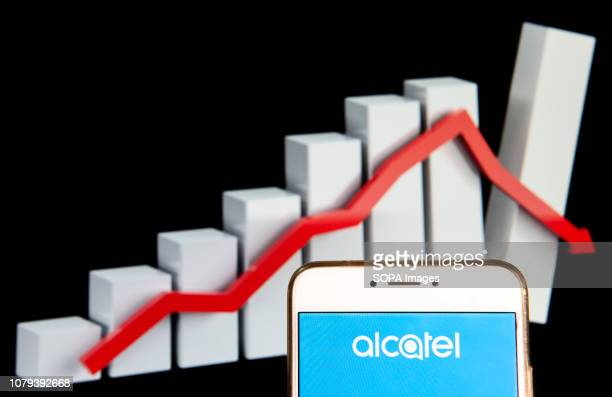 French global telecommunications equipment company Alcatel logo is seen on an Android mobile device with a graph showing sharp losses in the...