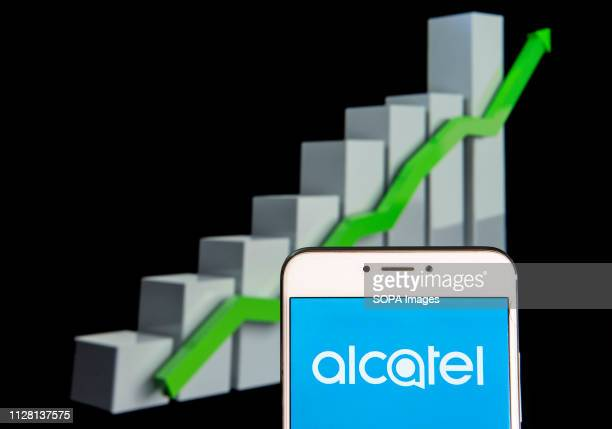 French global telecommunications equipment company Alcatel logo is seen on an android mobile device with an ascent growth chart in the background