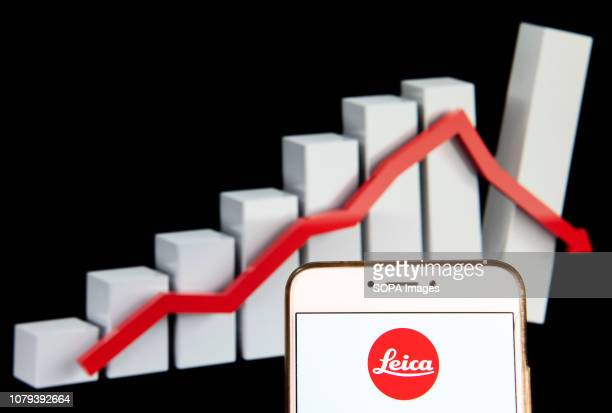 In this photo illustration the German manufacturer photography and imagining brand Leica logo is seen displayed on an Android mobile device with a...