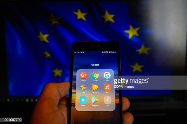 Google app are seen in a mobile with android operative system