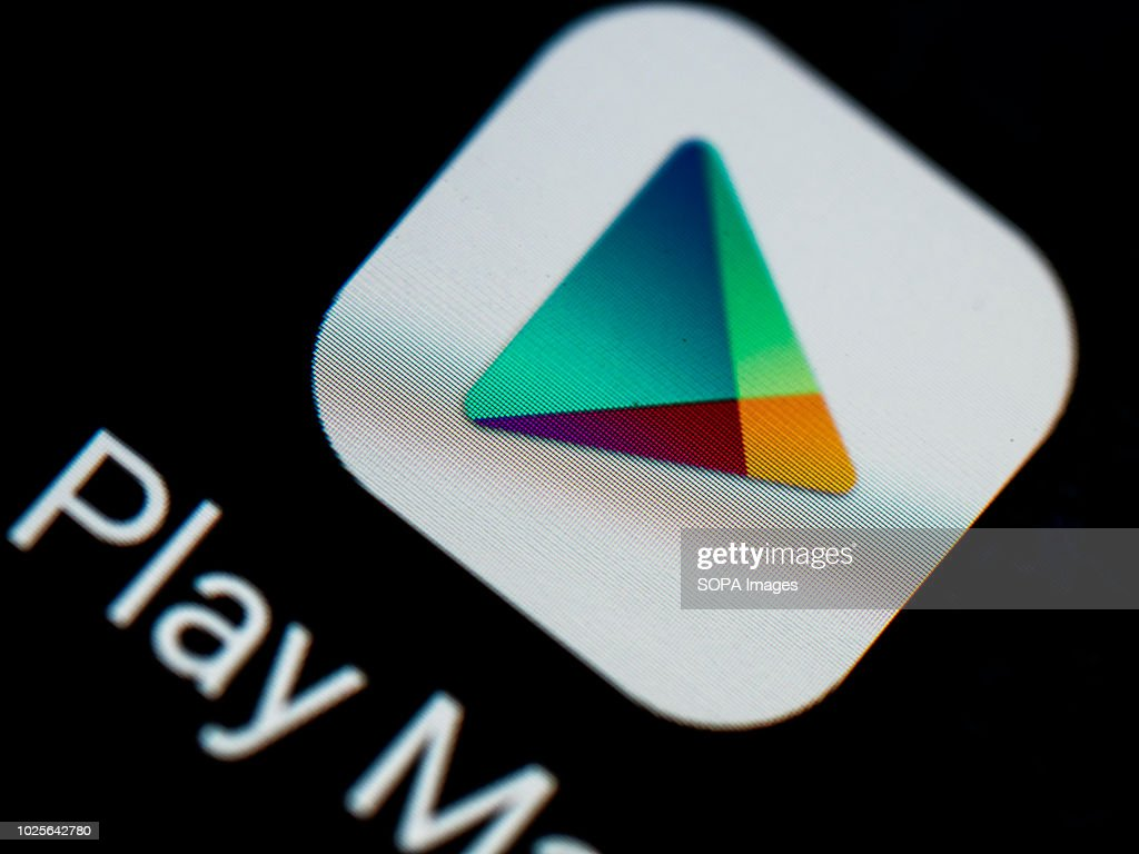Google Play logo seen displayed on a smart phone : News Photo