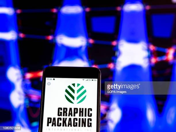 In this photo illustration the Graphic Packaging International Inc Paperboard mills company logo seen displayed on a smartphone