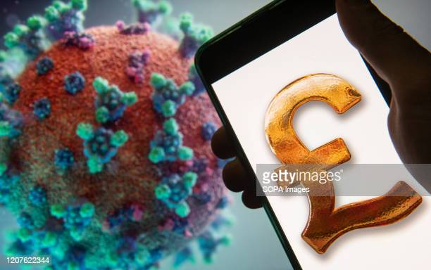 In this photo illustration the Great Britain's currency Pound Sterling icon logo seen displayed on a smartphone with a computer model of the COVID19...