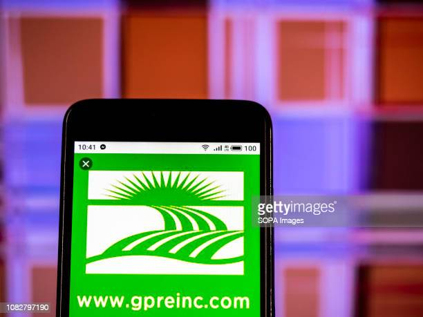 In this photo illustration the Green Plains Inc Company logo seen displayed on a smartphone