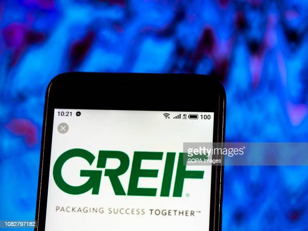 In this photo illustration the Greif Inc Company logo seen displayed on a smartphone