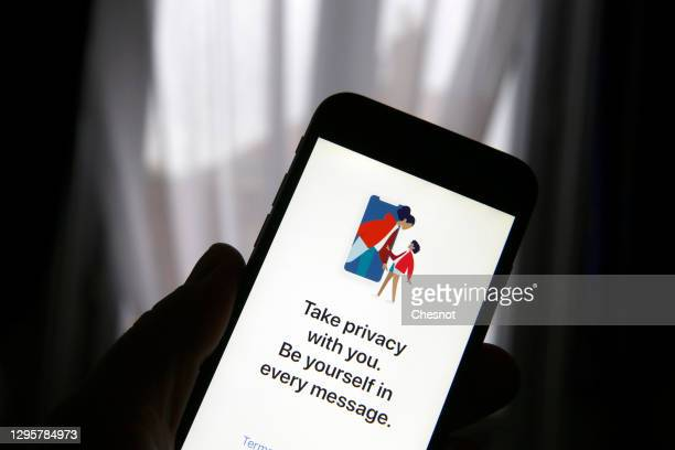 In this photo illustration, the home page of the social media application Signal is displayed on the screen of an iPhone on January 11, 2021 in...