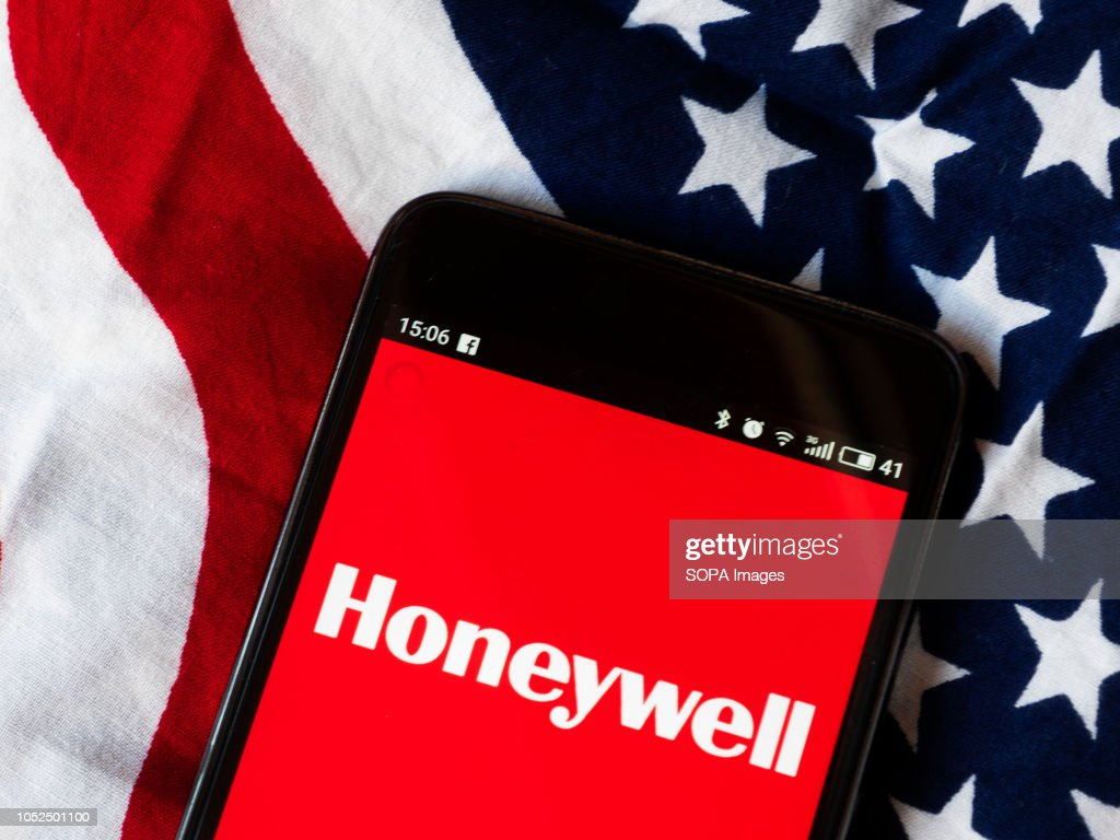 In this photo illustration, the Honeywell logo seen