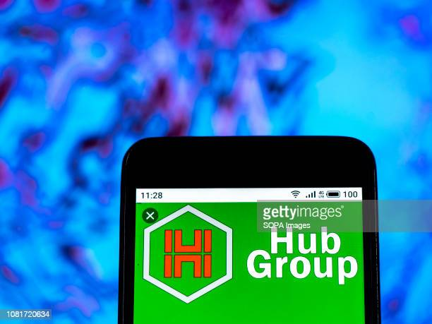 In this photo illustration the Hub Group Transport company logo seen displayed on a smartphone
