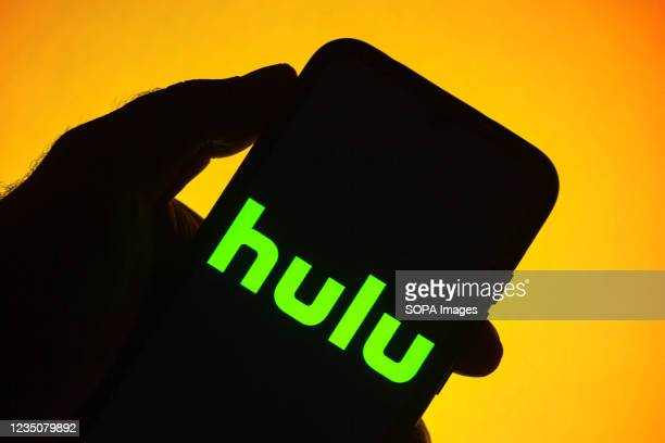 In this photo illustration the Hulu logo seen displayed on a smartphone.