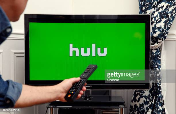 In this photo illustration, the Hulu media service provider's logo is displayed on the screen of a television on January 10, 2019 in Paris, France....