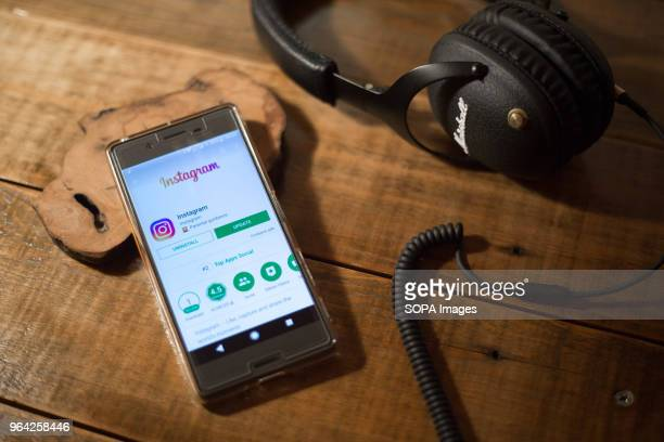 The Instagram application seen display via the Google Play Store on a Android Sony smartphone