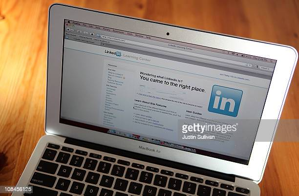 In this photo illustration the LinkedIn logo is displayed on the screen of a laptop computer on January 27 2011 in San Anselmo California Social...