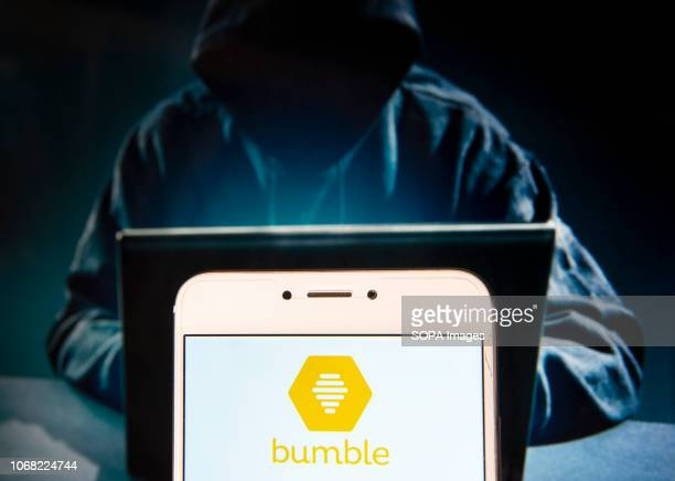 In this photo illustration the Locationbased social and dating application Bumble logo is seen displayed on an Android mobile device with a figure of...