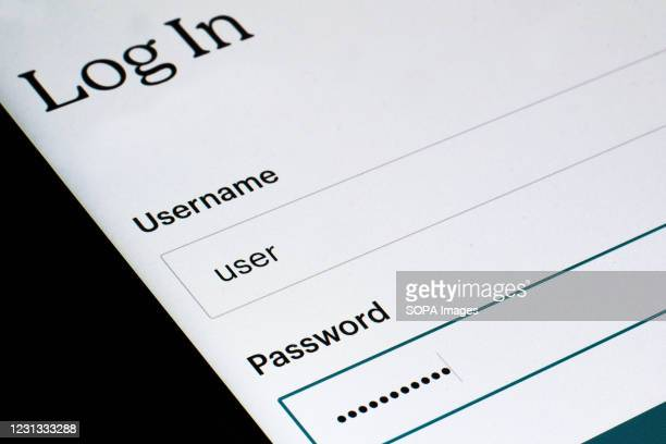 In this photo illustration the login screen displayed on a smartphone. Data protection and privacy are part of many applications security policy.