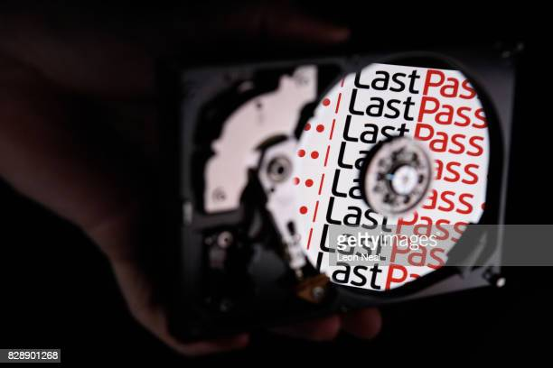 In this photo illustration the logo for online password manager service LastPass is reflected on the internal discs of a hard drive on August 09 2017...