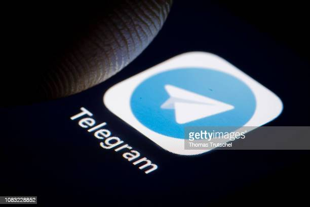 In this photo illustration the logo of cloudbased instant messaging and voice over IP service Telegram is displayed on a smartphone on January 16...