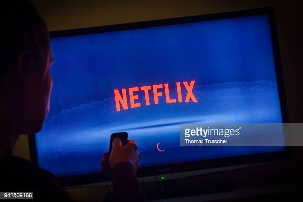 In this photo illustration the logo of the logo of the streaming service Netflix can be seen on a TV on April 05 2018 in Berlin Germany