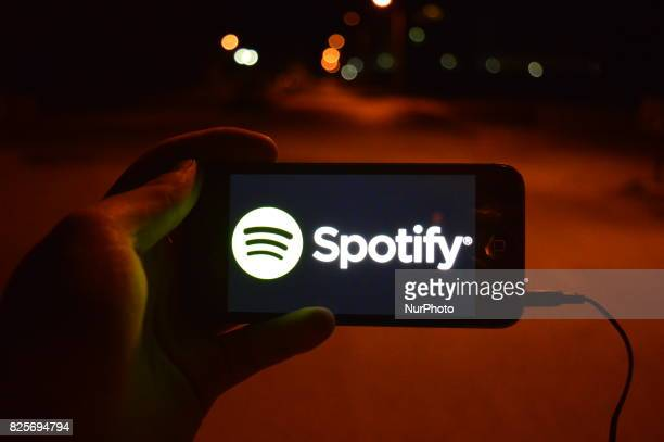 In this photo illustration the logo of the music streaming service Spotify is displayed on a smart phone in Ankara Turkey on August 02 2017 Spotify...