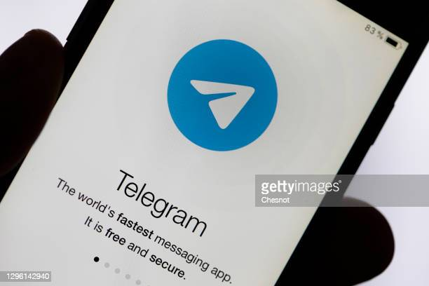 In this photo illustration, the logo of the social media application Telegram is displayed on the screen of an iPhone on January 13, 2021 in Paris,...
