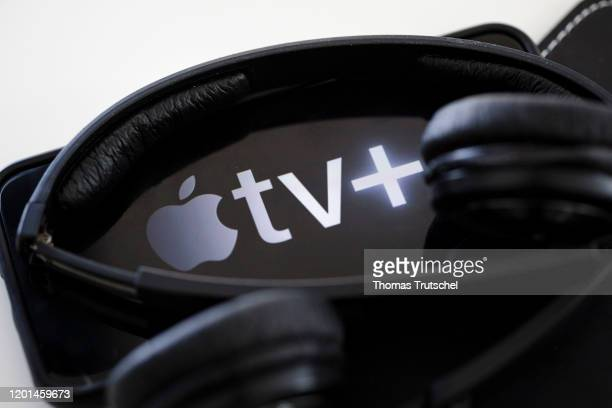 In this photo illustration the logo of video on demand web television service Apple TV+ is displayed on a smartphone on February 17, 2020 in Berlin,...
