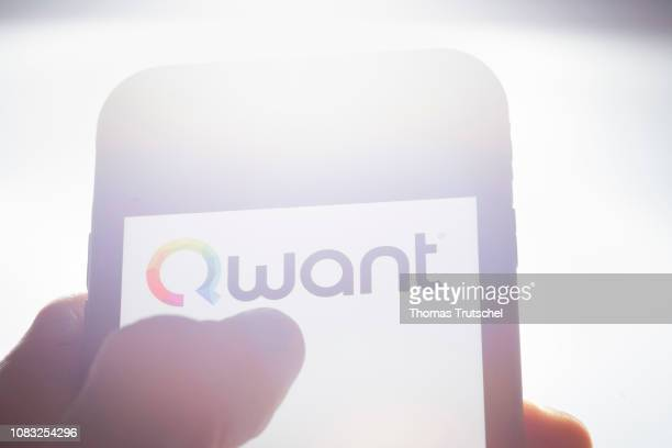 In this photo illustration the logo of web search engine Qwant is displayed on a smartphone on January 16 2019 in Berlin Germany